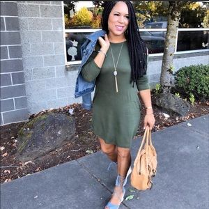 Army Green Cold Off Shoulder Casual Dress S
